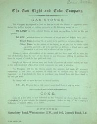 Advert for the Gas Light & Coke Company gas stoves